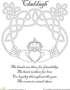 claddagh | Claddagh Coloring Page | Worksheet | Education.com