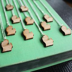 Wooden pendent of Michigan