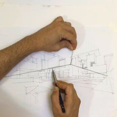 Drawing Architectural Using a simple string and hook to create dynamic perspective guidelines for drawing. - Using a simple string and hook to create dynamic perspective guidelines for drawing. Drawing Sketches, Art Drawings, Sketching, Drawing Techniques, Art Tutorials, Painting & Drawing, Drawing Lips, Art Reference, Zentangle