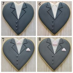 Final four steps in creating groom on a heart decorated cookie for wedding favours, by Honeycat Cookies Fancy Cookies, Heart Cookies, Cut Out Cookies, Iced Cookies, Cute Cookies, Royal Icing Cookies, Cookies Et Biscuits, Cupcake Cookies, Sugar Cookies