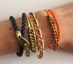 diy braided chain bracelet stacked with sailormade rope wrap