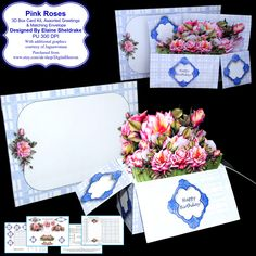 Pink Roses - 3D Pop-Up Box Card Kit, Assorted Greetings & Matching Envelope PU 300 DPI by DigitalHeaven on Etsy