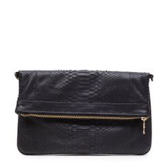 Fabienne Chapot Clutch That Never Sleeps, black snake leather