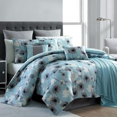 Essential Home 16-Piece Complete Bed Set - Blue Poppy Floral