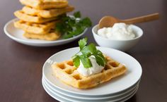 Much like potato latkes, these savoury potato waffles are delicious with a sprinkle of grated cheddar or a dollop of apple sauce added to the sour cream. Potato Waffles, Pancakes And Waffles, Potato Latkes, Breakfast Waffles, Waffle Cake, Waffle Sandwich, Food For The Gods, Sour Cream Pancakes, Epicure Recipes