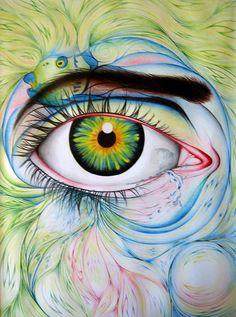 Eye Eye Eye Green Blue Pink Eyebrow Pupil Iris Yeah Lovely Art Drawing Aqua Watercolor Pencil Tear Crying #Sick