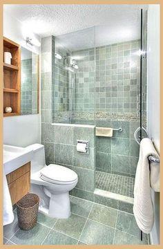 Amazing Small Master Bathroom Shower Remodel Ideas and Design 44 Small Bathroom With Shower, Small Showers, Modern Bathroom Design, Bathroom Designs, Shower Designs, Simple Bathroom, White Bathroom, Silver Bathroom, Neutral Bathroom