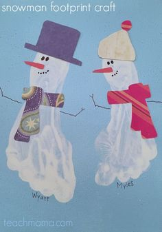 how TOTALLY adorable are these little footprint snowmen? This is the perfect wintertime craft for kids--and it's a great holiday gift as well! Guest post on teachmama.com by my sister! It's a family affair--and I'm LOVING IT!