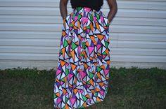 Vibrant and Playful Full Length Skirt by AdinkraExpo on Etsy. african print, kitenge, long skirt. full skirt, colorful skirt, african fashion