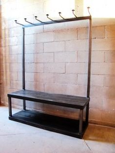 I wonder if we could re-work our Ikea shoe bench to add this coat rack for the entryway. Coat Rack Bench, Diy Coat Rack, Steel Furniture, Unique Furniture, Ikea Shoe Bench, Hallway Coat Rack, Mudroom, House Styles, Laundry Area
