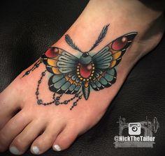 Full Color Moth Foot Tattoo, with Gems - Butterfly by NickTheTailorTattoo.deviantart.com on @DeviantArt