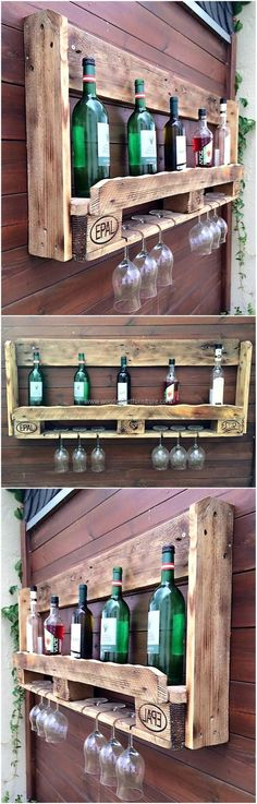 Old Pallets Ideas pallet wall bar idea - Wood pallets are utilized for packing the items with more chances of getting damaged when they need to be shifted to a far off place. Wood Pallet Furniture, Bar Furniture, Furniture Projects, Office Furniture, Bedroom Furniture, Furniture Design, Outdoor Furniture, Diy Bar, Old Pallets