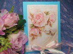 Свадебное приглашение ручной работы в винтажном стиле,выполненное на основе копии старинной открытки с розами. Цена:72 руб за штуку. #свадьба #приглашение #ручнаяработа #винтажный #декор #розы #бирюзовый #soprunstudio