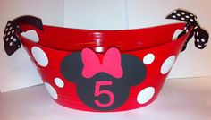 Red Minnie Mouse Party Favor Mini Oval Tubs Mickey by HelloFaith, $10.00