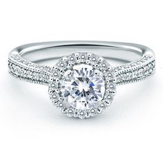 Cathedral Vintage Halo Engagement Ring Forevermark® #round #pavé #signature mes524 Large Engagement Rings, Engagement Ring Stores, Designer Engagement Rings, Diamond Engagement Rings, Diamond Rings, Diamond Jewelry, Just In Case, Wedding Rings, Wedding Bells