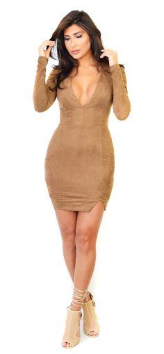 Dark Mocha Long Sleeve Faux Suede Mini Dress