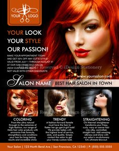 voor de achterkant lay outHair Salon Flyers Promotional Hair Stylist by iDesignStationery