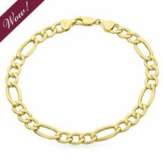 EnduraGold™ Men's Figaro Link Bracelet in 14K Gold - Gold Bracelets - Bracelets - Jewelry - Categories - Helzberg Diamonds