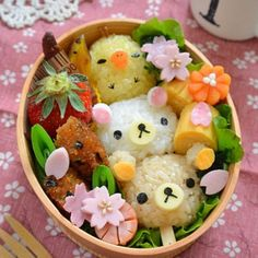 Goldilocks & the Three Bears Bento. Find out how you can win the stainless steel bento box used in this photo! Japanese Food Art, Japanese Lunch Box, Japanese Sweets, Lunch Box Bento, Cute Bento Boxes, Lunch Boxes, Kawaii Bento, Rilakkuma, Cute Food Art