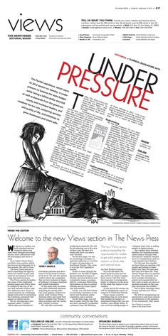 The slanted design could be a way to draw readers' attentions for a front page non-news story, also increasing student pressure could become a story if something extreme happens Design Editorial, Editorial Layout, Magazine Design, Page Design, Web Design, Newspaper Design Layout, Yearbook Design, Buch Design, Poster Art