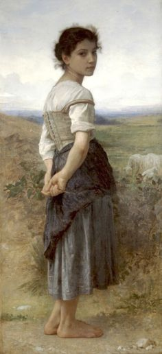 William-Adolphe Bouguereau - The Young Shepherdess, 1885 - San Diego Museum of Art (this poster has been in my home for decades ; William Adolphe Bouguereau, Poster Prints, Art Prints, Wow Art, Oil Painting Reproductions, Fine Art, Figure Painting, Oeuvre D'art, San Diego