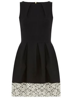 Black lace hem pleat dress - View All  - Dresses