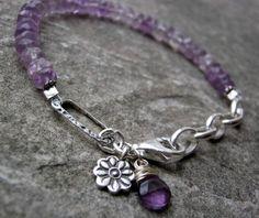 Sterling Silver Amethyst Gemstone Hill tribe silver charm bracelet