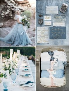 Romantic mixed shades of blue beach wedding color ideas #weddings #weddingcolors #blue #blueweddings #wedding #weddingideas #deerpearlflowers