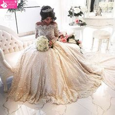 Lace Luxury Beading Long Sleeve Muslim Wedding Gowns With Long Train Off Shoulder