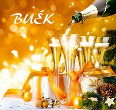 Újévi képeslapok Special Day, Happy New Year, Table Decorations, Tableware, Glass, Dinnerware, Happy New Years Eve, Drinkware, Dishes