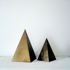Brass Geometric Triangle Pyramid Statues