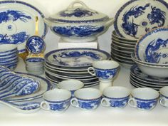 Vtg 59 Blue White China Japanese Oriental Chinese Dragon Ware Imari DINNERWARE  #ThreeMakersMarks
