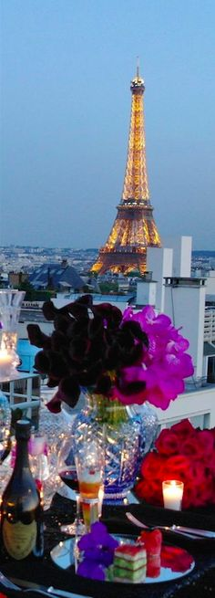 Penthouse view of the Eiffel Tower at the Four Seasons Hotel George V