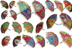 Hare Krishna Indian Ethnic Style Embroidery Design Cotton Garden Umbrella Gifts Parasol 70 x 90 Inches Multi