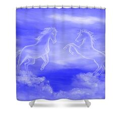 Spirit Horses Shower Curtain by Faye Anastasopoulou. This shower curtain is made from polyester fabric and includes 12 holes at the top of the curtain for simple hanging. The total dimensions of the shower curtain are wide x tall. Beautiful Modern Homes, Fancy Houses, Pattern Pictures, Curtains With Rings, Curtains For Sale, My Themes, White Horses, Shower Curtains, Artist At Work