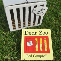 Recreate/retell stories with this simple Dear Zoo activity - Cardboard box crate + fluffy toys! Supporting language & imagination! www.acraftyliving.com