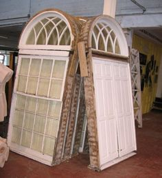 would love to have 3 of these in my livingroom Church Windows, Big Windows, Arched Windows, Architectural Salvage, Architectural Elements, Black Dawg Salvage, Salvage Dogs, Vintage Doors, Repurposed Items