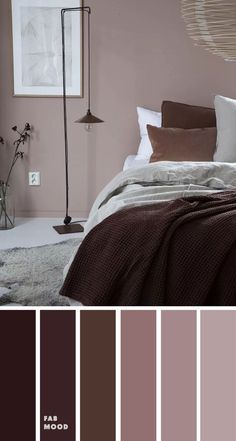 15 Earth Tone Colors For Bedroom { Dark plum mauve } , mauve color scheme for bedroom, color palette, mauve color palette bedroom simple 15 Earth Tone Colors For Bedroom Bedroom Colour Palette, Bedroom Wall Colors, Bedroom Color Schemes, Home Decor Bedroom, Modern Bedroom, Colors For Bedrooms, Room Color Ideas Bedroom, Dark Purple Bedrooms, Calming Bedroom Colors