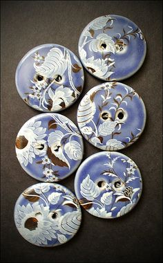 Handmade Ceramic Buttons ... Prepping for 2nd Firing...