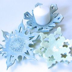 set of 3 pottery Snowflake Candle Holder or soap dish Winter Decor