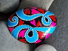 Go With the Flow / Painted Rock / Sandi PIke Foundas / Cape Cod Sea Stone