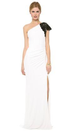 Badgley Mischka Collection Beaded One Shoulder Gown. Under $1000.