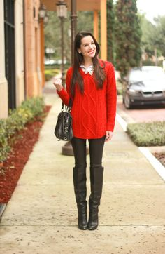 Fashion on the Fly: Oversized Red Cable Knit + Faux Leather Leggings - Diary of a Debutante