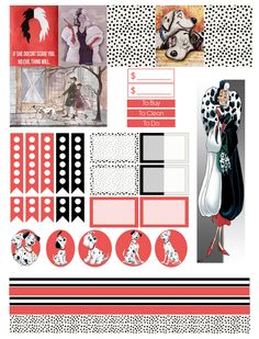 101 Dalmatians planner stickers - I love these! Glam Planner, Home Planner, Happy Planner, Planner Layout, Planner Ideas, Planners, Planner Organization, Organizing, Disney Planner