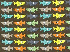 Baumwolljersey Haifisch, braun, 4407-55,  bei stoffe-hemmers.de, Trendiger Baumwolljersey mit lustigen bunten Haifischen, ideal geeignet