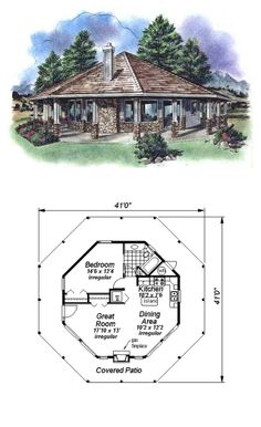 Tiny House Plan 58519 | Total Living Area: 695 sq. ft., 1 bedroom & 1 bathroom. #tinyhouse #houseplan