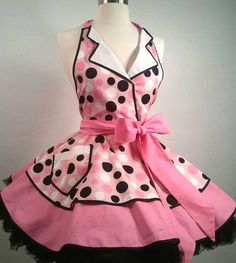 Betty the Car Hop Pin Up Apron, Sexy Costume Apron Pink & Black Polka Dots