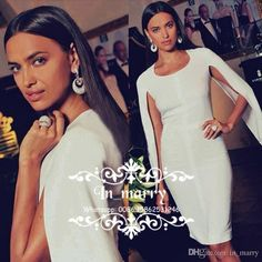 1ba52154329 Sexy White Cloak Arabic Cocktail Dresses with Sleeves 2017 Sheath Jewel  Plus Size Cheap Simple Runway
