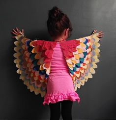 Colorful Bird Wings - 25 Best DIY Halloween Costumes for Girls