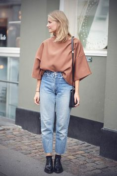 oversized shirt tucked into high waisted denim #streetstyle